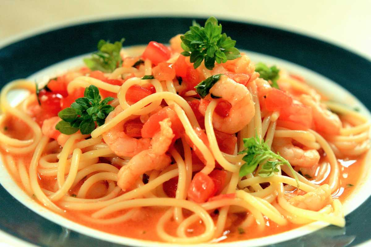 Tomato Concasse and Prawn Spaghetti Image